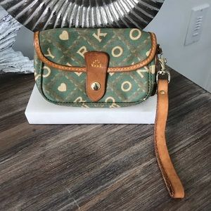 Dooney & Bourke wristlet green w tan leather trim